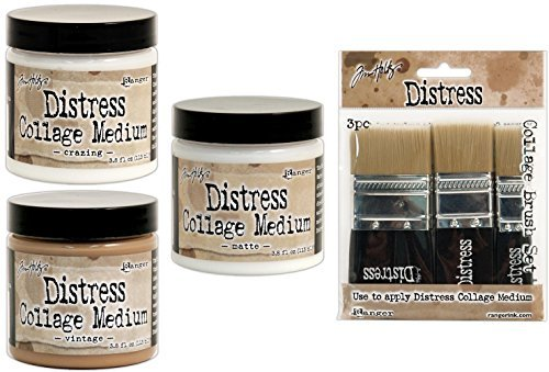 (Ranger - Tim Holtz Distress Collage Mediums Bundle of 4 Items - Crazing, Vintage and Matte Full-Size Set Plus Brushes)
