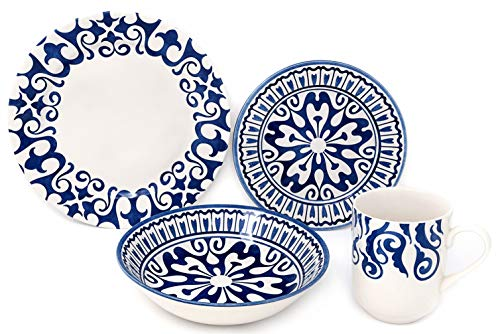 Tudor Royal Collection 16-Piece Premium Quality Porcelain Dinnerware Set, Service for 4 - HENNA BLUE; See 10 Designs Inside!