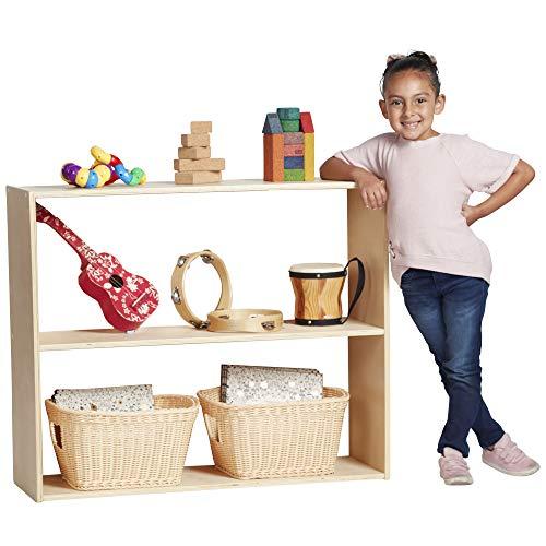 ECR4Kids Birch Streamline 2-Shelf Storage Cabinet Without Back, Wood Book Shelf Organizer/Toy Storage for Kids, 30