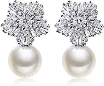 18K Gold-Plated 925 Sterling Silver Pin Simulation Diamond Snowflake CZ Shell Pearl Stud Earrings