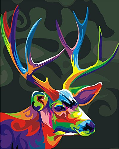 ABEUTY DIY Paint by Numbers for Adults Beginner - Colorful Deer Head Rainbow Animal 16x20 inches Number Painting Anti Stress Toys (Wooden Framed) (Head Deer Framed)