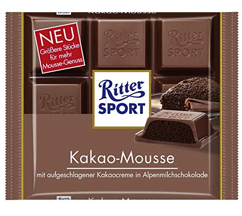 Ritter Sport Cocoa Mousse Chocolate Bar Candy Original German Chocolate 100g/3.52oz