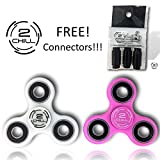 2 Fidget Spinner and 3 FREE GIFT 2CHILL CONNECTORS NEW ACCESSORY Connect as many spinners as you can!. Bundle combo kit party favor. ADD ADHD Mercury Lead Free! (Glow in the dark White and Pink)