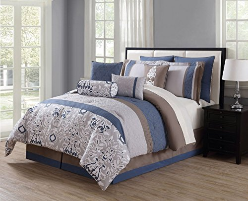 KingLinen 10 Piece Chloe Navy/Gray/Taupe Reversible Comforter Set Queen