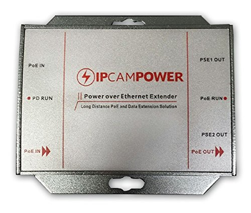 - IPCamPower POE Powered 2 Port Switch & Network Cat5 Cat6 Midspan Cable Range Extender Passthrough Repeater for IP Cameras