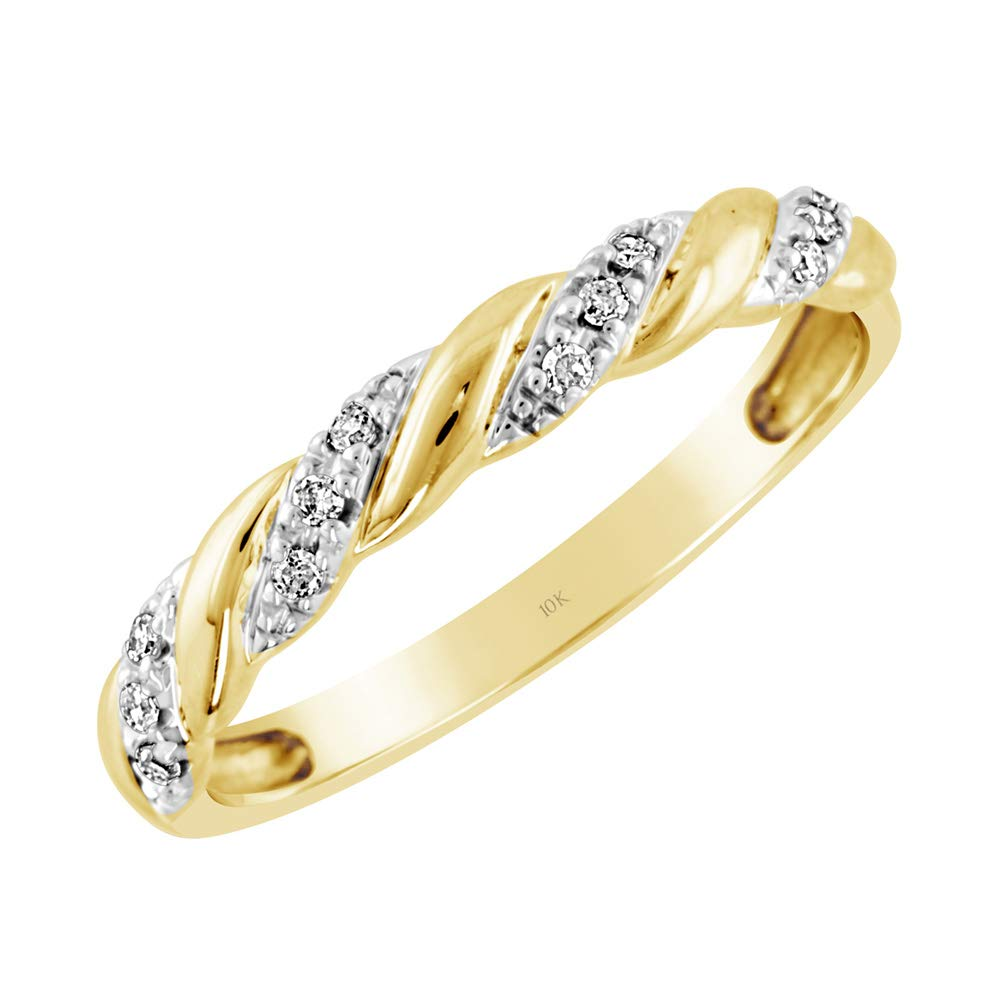 Brilliant Expressions 10K Yellow Gold 0.06 Cttw Conflict Free Diamond-Accented Twist Wedding or Anniversary Band (I-J Color, I2-I3 Clarity), Size 8