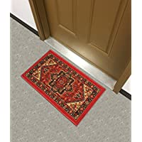 Kapaqua Rubber Backed Mat 18 x 31 Red Persian Medallion Doormat Accent Non-Slip Rug - Rana Collection Kitchen Dining Living Hallway Bathroom Pet Entry Rugs RAN2090-12