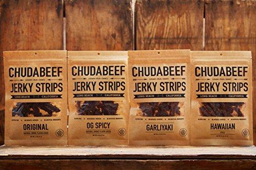 Beef-Jerky-Meat-Snacks-OG-Spicy-Garliyaki-Hawaiian-Original-25-Ounce-By-Chudabeef