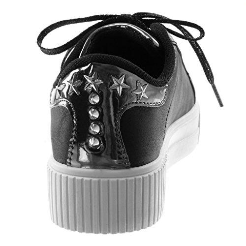 Angkorly Damen Schuhe Sneaker - Tennis - Sporty Chic - Plateauschuhe - Nieten - Besetzt - Stern - Patent Flache Ferse 3.5 cm Schwarz