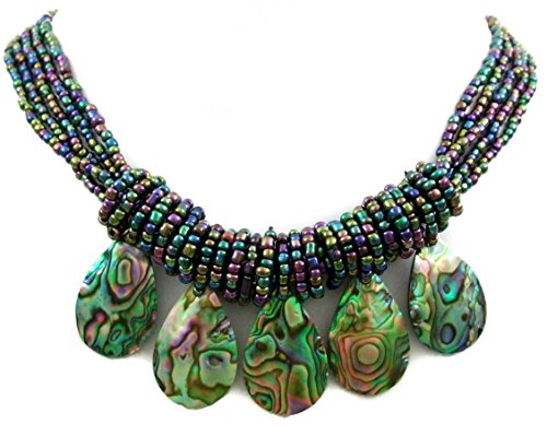 Swimmi Handmade Iridescent Paua Abalone Shell Beads Necklace : CA401