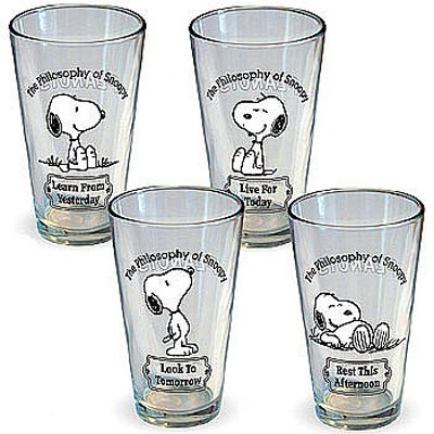 ICUP Peanuts Philosophy of Snoopy Pint Glass (4 Pack), Clear
