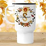 Customized Travel Mug with Lid | A24 Personalized with Name and Initial | Autumn Sunflower Monogram Cup | Personalized Tumbler -  Foxy Mug