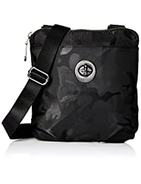 Baggallini Mini Hanover Crossbody with RFID Protection Gunmetal Hardware with Lightweight Nylon, Black Camo, One Size (Model:HCM170M-Camo/Silver)