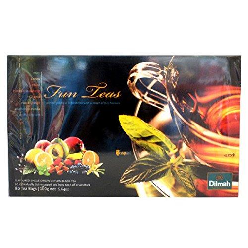 Dilmah Fun Teas Collection - Flavored Ceylon Black Tea - 80 Tea Bags - 160g net (5.64 oz) - Mint, Lemon, Peach, Mango & Strawberry, Caramel, Pear & Orange, Blueberry ()