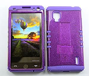 Cell-Attire Shockproof Hybrid Case For LG Optimus G, LS970 and Stylus Pen, Light Purple Soft Rubber Skin with Hard Cover (Purple, Glitter) Sprint by Maris's Diary
