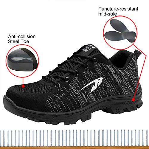 Steel 2 Optimal Toe Black Safety Shoes Work Shoes Men's Shoes 1CnqACSUw