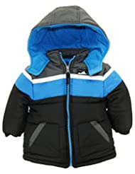 iXtreme Baby Boys' Cut and Sew Colorblock Puffer Winter Jacket, Black, 18 Months