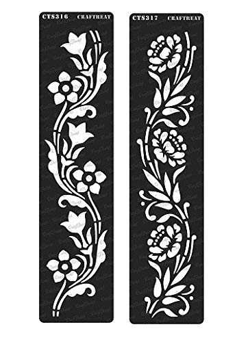 CrafTreat Stencil - Border12 & 13 (2 pcs) | Reusable Painting Template for Journal, Notebook, Home Decor, Crafting, DIY Albums, Scrapbook and Printing on Paper, Floor, Wall, Tile, Fabric, Wood - Stencil Flower Border