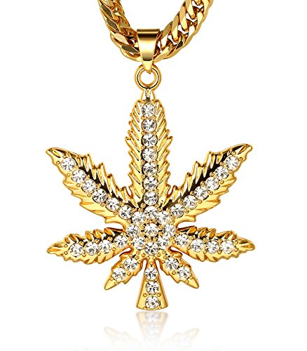 "Halukakah ""IN WEED WE TRUST"" Men's 18k Real Gold Plated Marijuana Pendant Necklace with FREE Cuban Chain 30""?Large?"