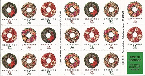 (1998 Holiday Weaths Christmas Booklet Pane of 20 x 32 Cent Stamps Scott #3252c )