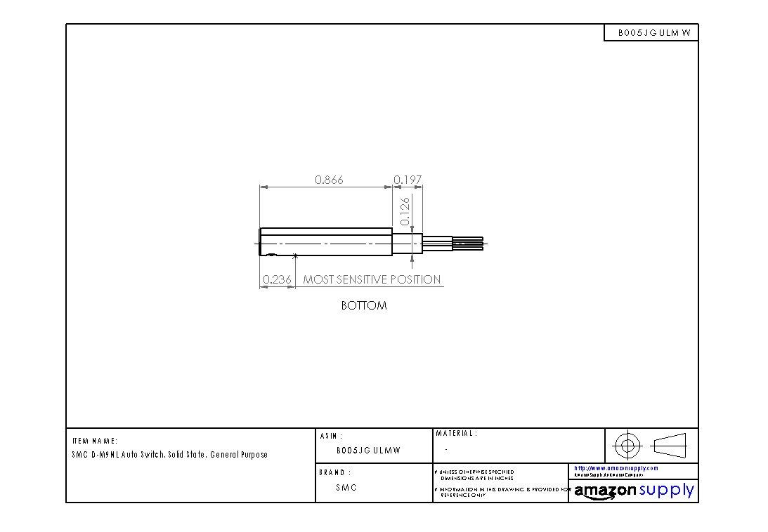 SMC D-M9NL Auto Switch, Solid State, General Purpose