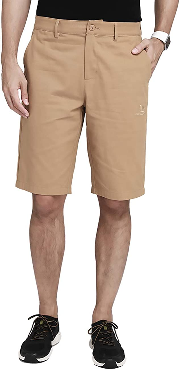 "CAMEL Mens Work Shorts 12"" Inseam Flat Front Shorts Relaxed Fit Hybrid Chino Pleated Walkshort for Men with 4 Pockets 11 inch"