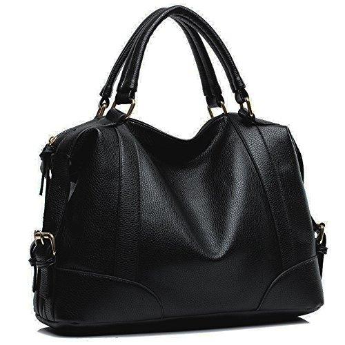 Hynes Victory Womens Luxury Hobo Handbag (Black2)