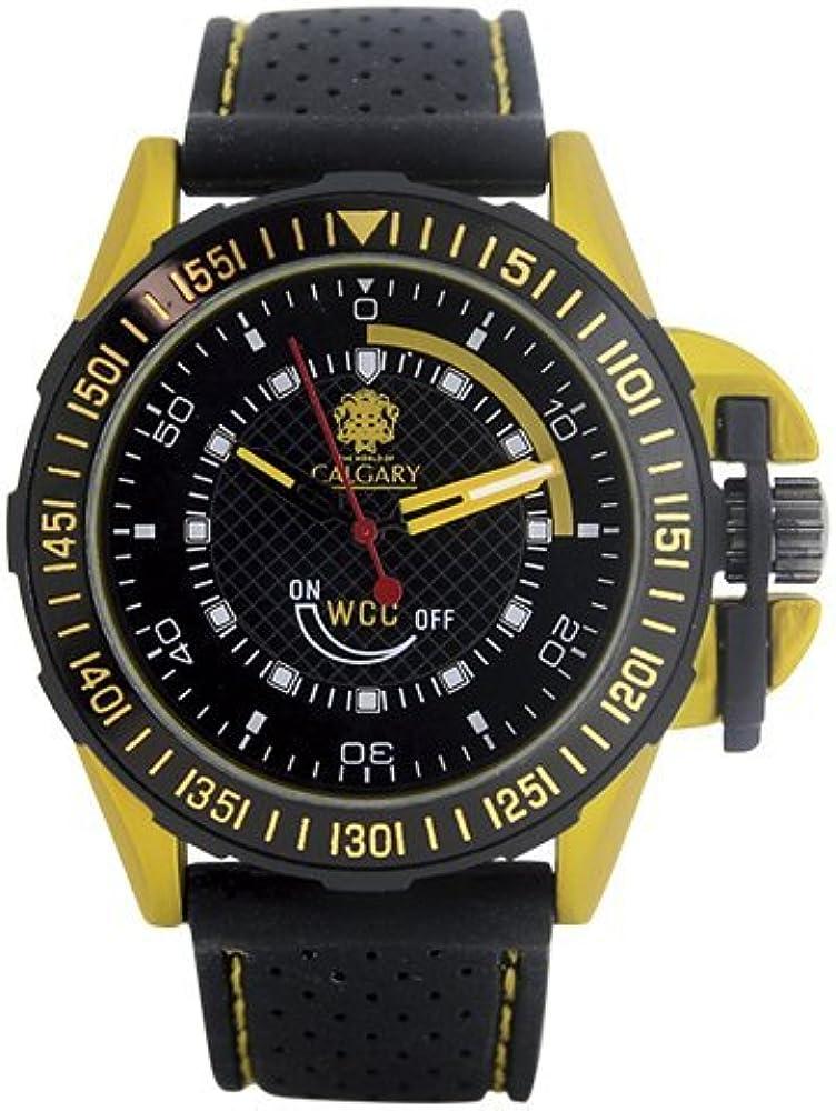 Relojes Calgary GP Racing Yellow. Reloj Deportivo para Hombre, Correa de Caucho Negra, Esfera Color Negro y Amarillo.