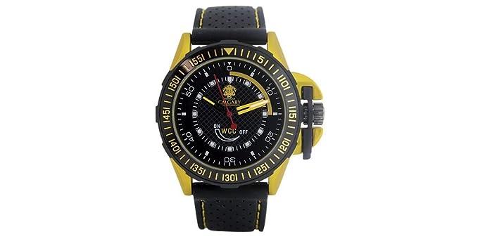 Relojes Calgary GP Racing Yellow. Reloj Deportivo para Hombre, Correa de Caucho Negra, Esfera Color Negro y Amarillo.: Amazon.es: Relojes
