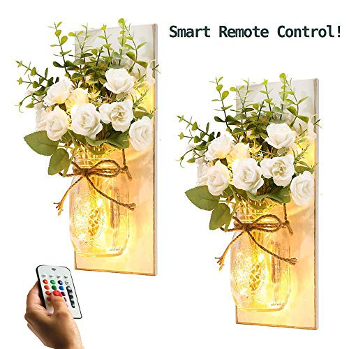 Rustic Wall Sconces Mason Jar Sconces Handmade Wall Art Hanging Design with Remote Control Lights and White Rose, Farmhouse Kitchen Decorations Wall Decor Living Room Lights (Set of 2) (Art Sconces Wall)