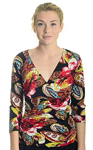 - Libra Women's Shirred Jersey Cross Front Top in Floral Paisley, Small