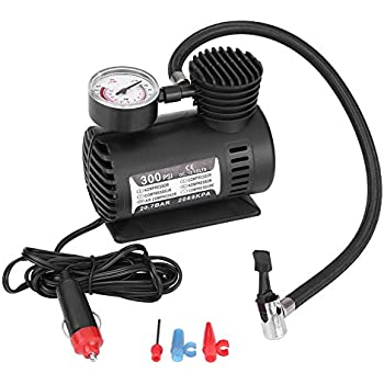 VGEBY 12V 300 PSI Air Compressor Pump, Portable Auto Mini Tire Inflator with Pressure Gauge for Car Motorcycle Bicycle