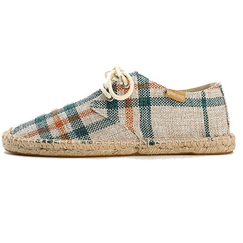 Lace Leroy Check up Mens Canvas Espadrilles Alexis Beige 68P7Hqn6w