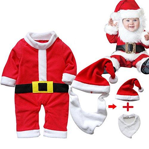 ARAUS Traje Navidad Santa Unisexo Bebé Disfraz Navidad Traje Pantalones 3/4 + Sombrero + Barba (se puede utilizar como un...