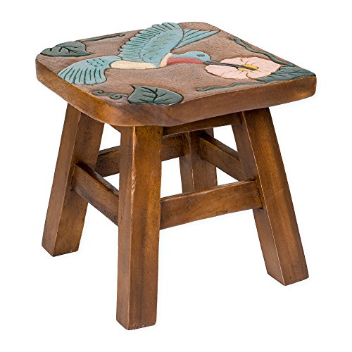 (Hummingbird Design Hand Carved Acacia Hardwood Decorative Short Stool)