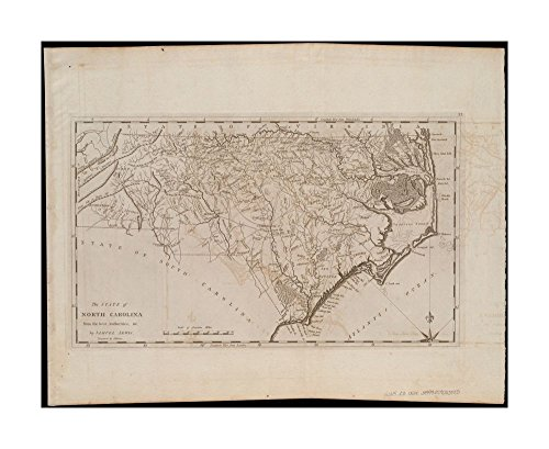 1800 Wall Map North Carolina state of North Carolina from best authorities, &c Prime meridians: Philadelphia & London.In upper right margin: 37.Wall Map|Ready to Frame|Historic Antique Vintage - North Carolina Outlets Prime