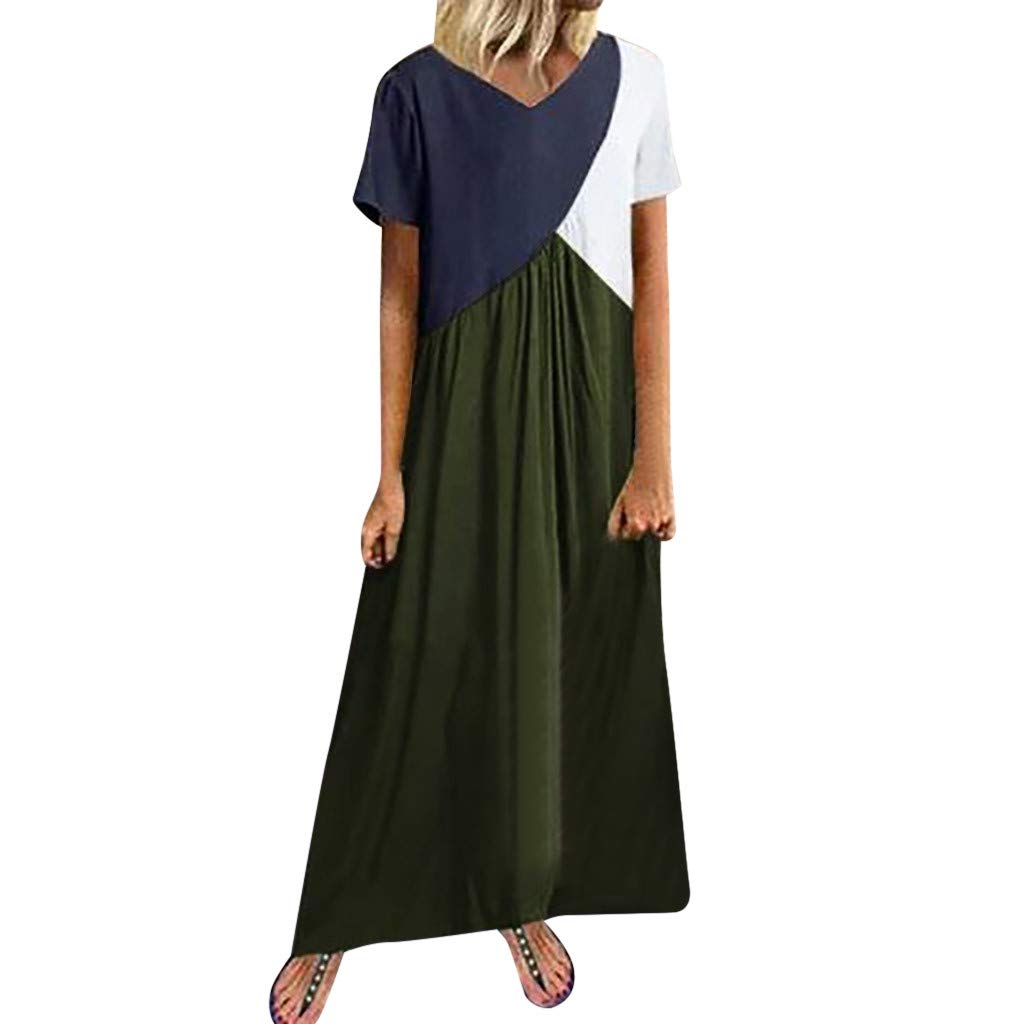 Sttech1 Women Dress Casual Splicing Short Sleeve Loose Party Dress Coffee