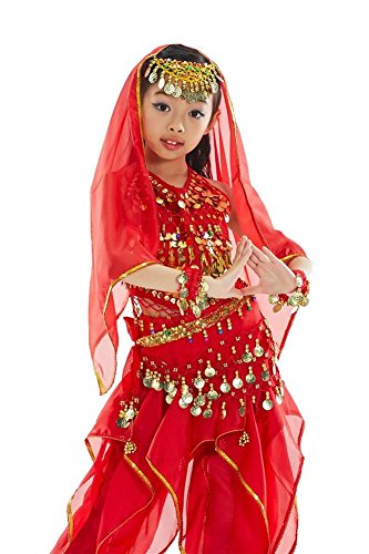 DQdq Girls Belly Dance Dresses Set Costume Set of 2 Red (Indian Dance Costumes And Accessories)