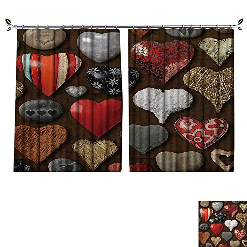 r Curtain Background of Heart Shaped Things Made of Stone,Metal and Wood. Suitable for Living Room. W96 x L96 ()