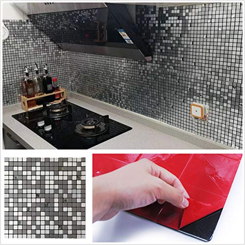 HomeyStyle Peel and Stick Tile Backsplash for Kitchen Bathroom Wall Decor Aluminum Surface Metal Mosaic Tiles Silver Glass Mixed 12 x12 ,5 Sheets,HSMS1-181