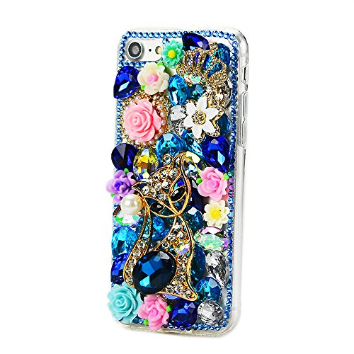 STENES iPhone 7 Plus Case - Luxurious 3D Handmade Sparkly Crystal Bling Cover Hybrid Drop Bumper Protection Case With Retro Bow Anti Dust Plug - Rhinestone Pretty Cat Crown Rose Flowers/Blue
