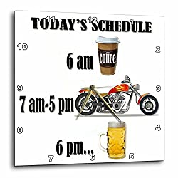 3dRose Coffee, Motorcycle, Beer. Funny Motorcycles Saying. - Wall Clock, 10 by 10-Inch (dpp_220705_1)