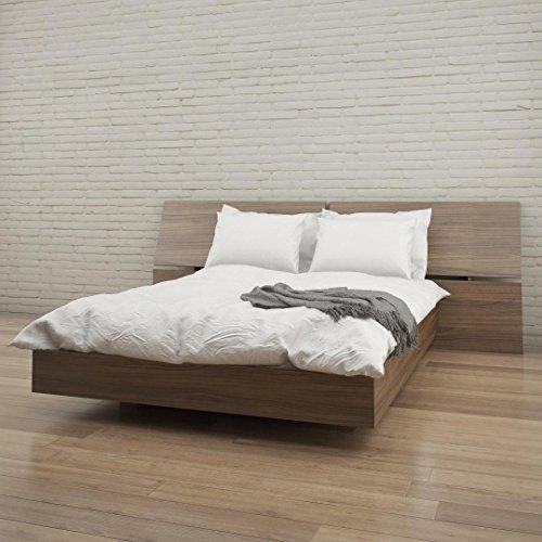 Nexera Queen Size Panoramic Bed Set 400693 Walnut