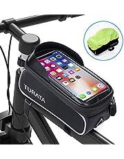 TURATA Bolsas de Bicicleta, Bolsa Impermeable para Bicicleta, Bolsa Táctil de Tubo Superior Delantero con Orificio para Auriculares para Teléfono Inteligente por Debajo de 6,5 Pulgadas