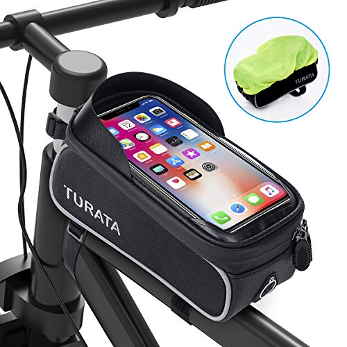 TURATA Bike Bags Bicycle Front Frame Bag Waterproof Handlebar Cycling Top Tube Pannier Touch Screen Sun Visor Large Capacity Mobile Phone Holder Fits Phones Below 6.5 Inches (Gray)