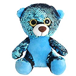 Teddy Bear Stuffed With Reversible Blue Flip Sequins