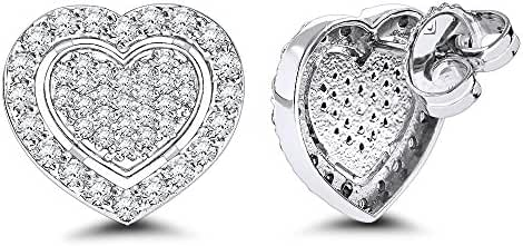 Luxurman Platinum Natural Diamond Shiny Heart Earrings Studs (0.5 Ctw, G-H Color)