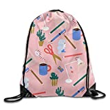 Ping Pong Printed Cute Drawstring Backpack Teen Girl Lightweight Travel Bag Tote Gymnastics 16.9''14''
