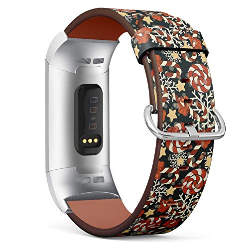 (Compatible with Fitbit Charge 3 / Charge 3 SE - Leather Band Bracelet Strap Wristband Replacement with Adapters - Candy Cane Red Ribbon Bow)