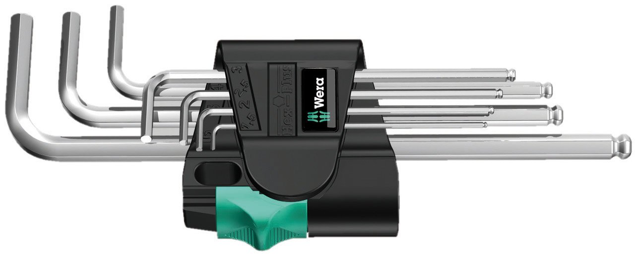Wera Stainless 3950 PKL/9 Ball-point Metric Hex-Plus Ergonomic L-Key Set with Two-Component Storage Clip, 9-Piece by Wera